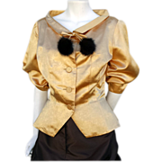 1950s Cocktail Jacket Gold Satin with Mink Bust 36 Large