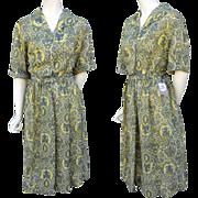 SOLD Rare 1940s Unworn Rayon Dress Dead Stock NOS Plus Size XXL Bust 44