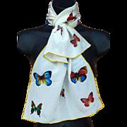 SOLD Marvelous Hattie Carnegie Silk Butterfly Scarf Unused