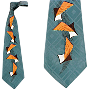 SOLD 1950s Extra Wide Silk Necktie Surrealistic Print Mid Century Magnificent