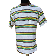 SOLD 1960s Men's Striped Surfer T-Shirt Size Medium to Large Unworn