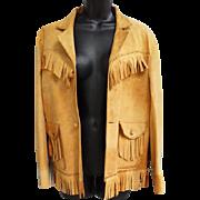1950s Fringed Suede Women's Leather Jacket Western Style Size Small - Medium