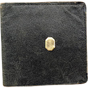 1920s - 1930s Men's Wallet Black Leather with 14k Gold Filled Accent