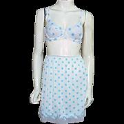 1960s Vintage Bra  Matching Mini Half Slip Blue Polka Dots Size Small