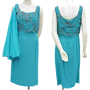 1950s - 1960s Vintage Turquoise Silk Beaded Cocktail Dress Bust 36