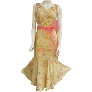 SOLD 1930s Evening Gown Floral Rayon Classic Silhouette Size Medium