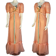 SALE 1930s Pretty Peach Evening Gown with Slip Size Extra Small