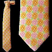 Men's Vintage Silk Necktie Lilly Pulitzer Lemons Oranges Neck Tie