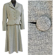 1940s Women's Wasp Waist Suit Gray Tweed Size Medium Mint