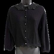 Vintage Black Cashmere Cocktail Sweater Lace and Soutache Trim Medium