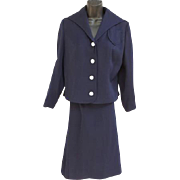 1950s Navy Blue Women's Suit Sailor Collar MOP Buttons Medium to Large