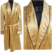 SOLD Superb Men's Vintage 1950s Smoking Jacket Dressing Gown Size Large - Extra Large
