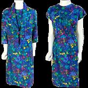 1960s Women's Silk Suit Dress and Bolero Jacket size Large