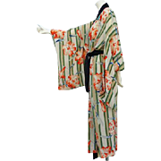 SOLD Early Vintage Hand Painted Silk Kimono Unworn Tiger Lily