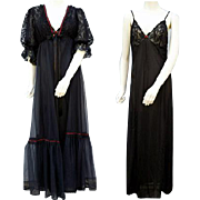 Vintage Nightgown and Peignoir Sultry Black Size Small