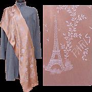 Superb Silk Souvenir Scarf Paris France Eiffel Tower Moulin Rouge Shawl