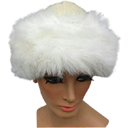 SALE Warm Winter White Knit Hat with Fluffy Faux Fur Trim Small Medium Large