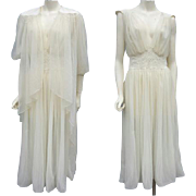 SALE Vintage Lingerie Grecian Nightgown with Peignoir Faux Pearl Fancy Small