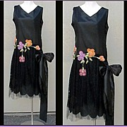 SOLD 1920s SILK Evening Gown Cocktail  Dress Bust 36 Hand Made Flowers Lace