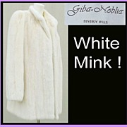 SOLD Vintage White Mink Fur Coat Size Large Beverly Hills Giba-Noblia