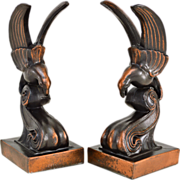 Vintage Bronzed Bookends - Bird on a Wave - Art Deco