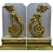 Pair Art Deco Mermaid Bookends - Machine Age - Aluminum and Bronze