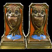 SOLD Vintage Polychrome Owl Bookends - Bronze Clad