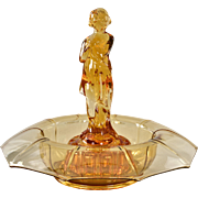Cambridge Glass Draped Lady Flower Frog and Bowl