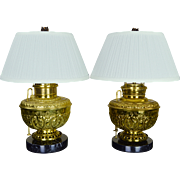 Pair Antique Brass Mammoth Kerosene Lamps Converted to Electric - Edward Miller - Juno - Roche