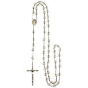 Vintage Crystal Rosary Sterling Crucifix