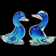 Pair Seguso Murano Glass Ducks - Large / Blue