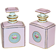 Pair French Porcelain Cologne Bottles - Camille Le Tallec - Made for Bonwit Teller