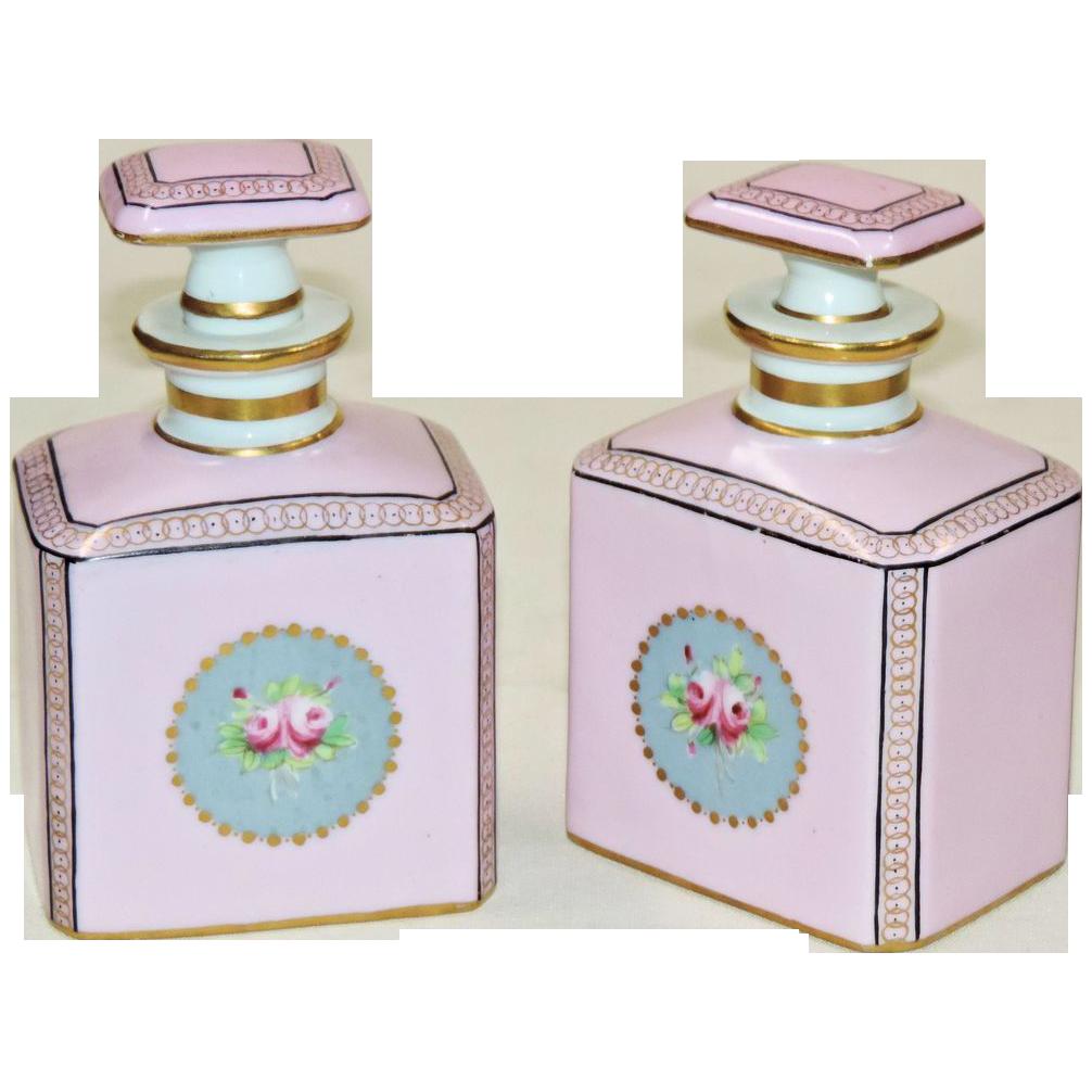 Pair French Porcelain Cologne Bottles - Camille Le Tallec - Made for Bonwit Teller