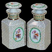Pair Vintage Porcelain Cologne Bottles - Made in Germany