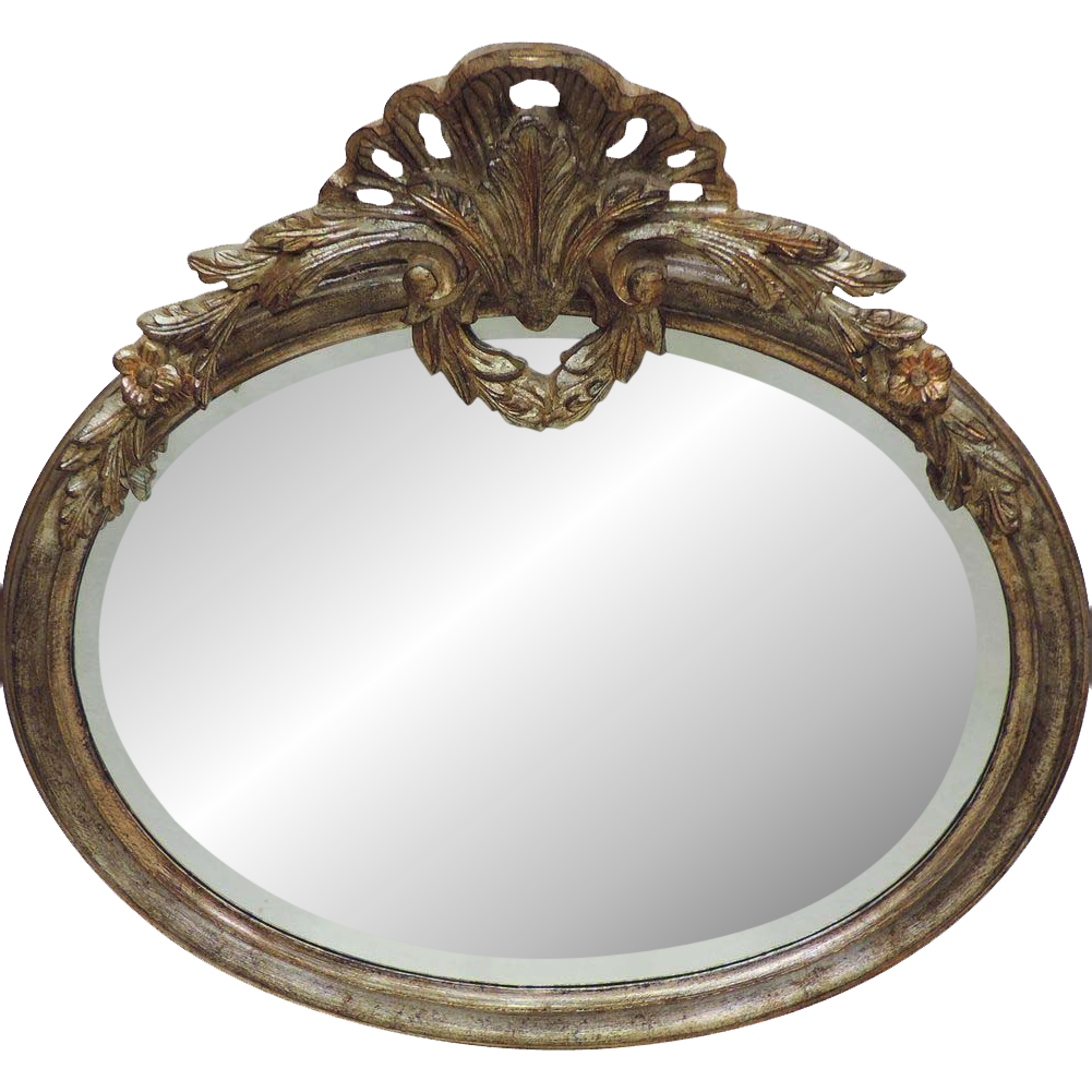 Vintage La Barge Italian Mirror Carved Wood Beveled Mirror