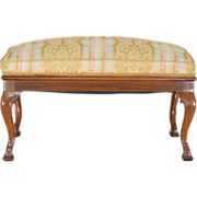 Antique Walnut Bench - Silk Upholstered