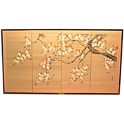 SOLD Vintage Silk Japanese Screen Hand Painted 4 Panels
