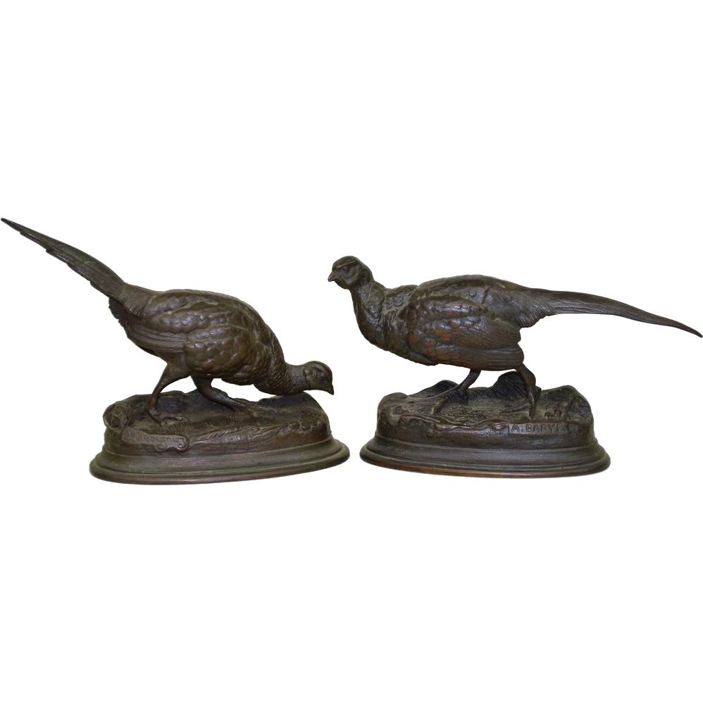 Antique French Bronze Pheasants Sculptures - Moigniez & Barye