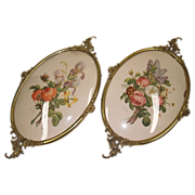 SOLD Pair Brass Frames Convex Glass - Vintage