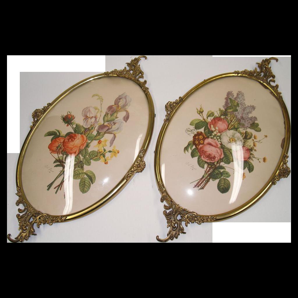 Pair Brass Frames Convex Glass - Vintage
