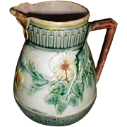 Lovely Etruscan Majolica Pitcher, Butterfly Lip