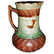 Large Early Majolica Pitcher, Bird, Butterfly, & Basketweave