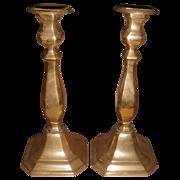 Large Vintage Brass Candlesticks, Pair, English