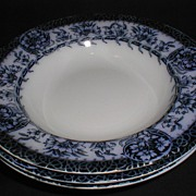 Group of 3 Flow Blue Soup Plates, MIKADO, Grimwades