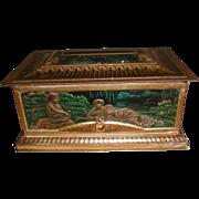 REDUCED Lovely Antique Mustard Tin Box (Casket), Art Nouveau