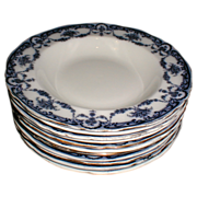 "Lovely Flow Blue 8 3/8"" Soup Plate REX Adderleys (9 available)"