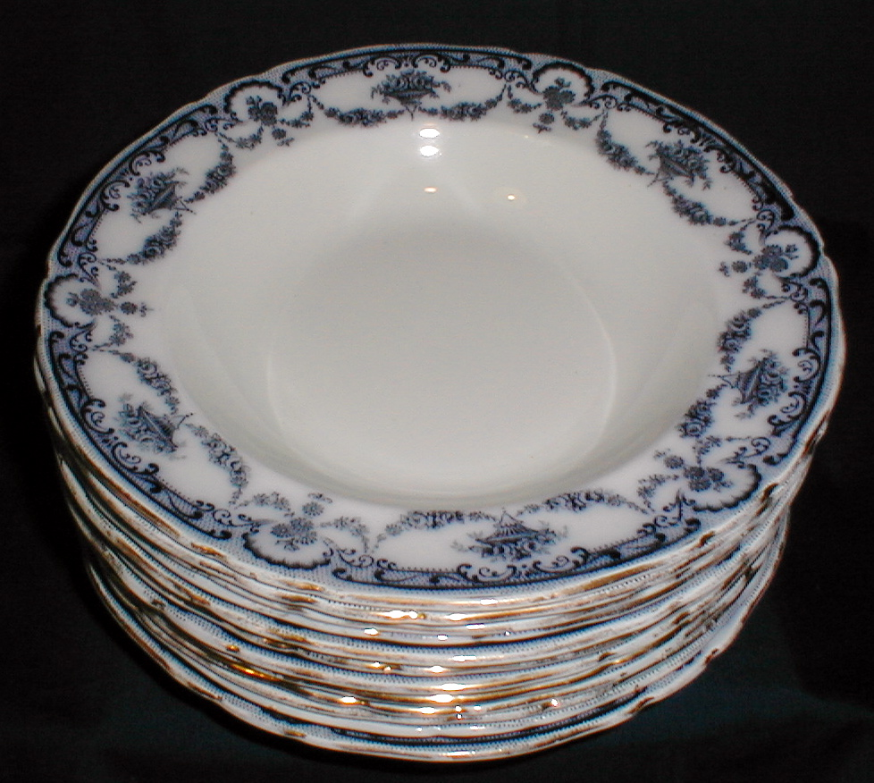 "Lovely Flow Blue 9 1/2"" Soup Plate REX Adderleys (12 Available)"