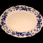 Large Flow Blue Platter, HUGO, James Kent, Staffordshire Pottery