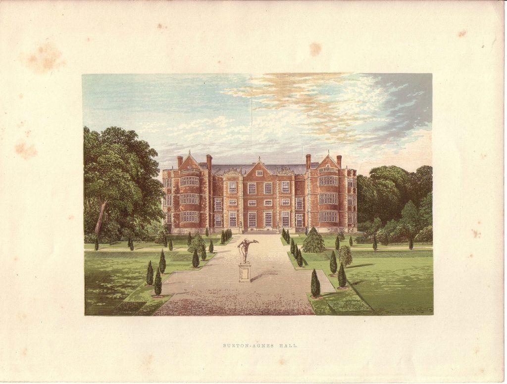 British Ancestral Home Xylography Burton-Agnes Hall F.O. Morris