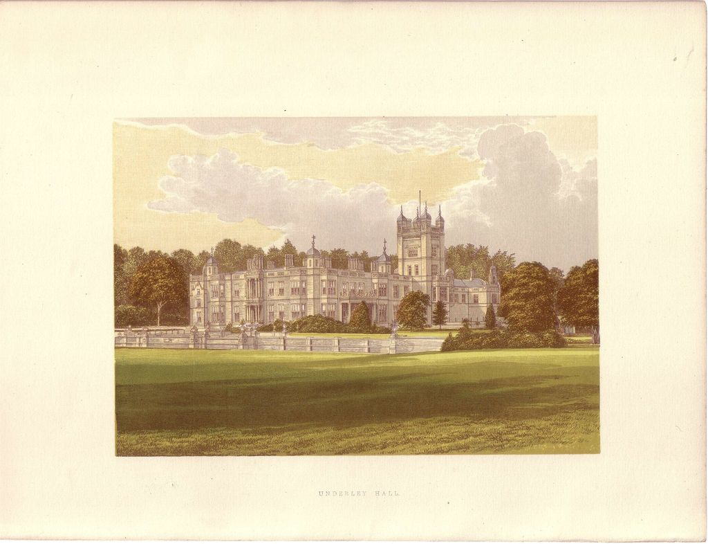 British Ancestral Home Xylography Underley Hall F.O. Morris